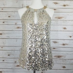 Tahari Hope Blouse Champagne Silver Sequin Top